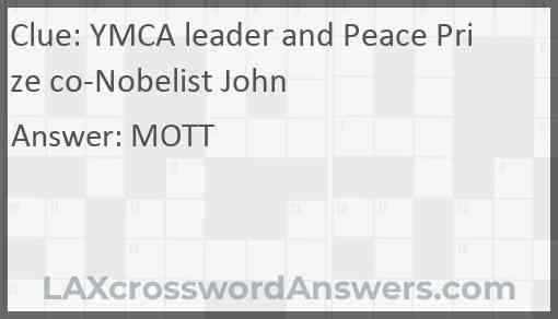 YMCA leader and Peace Prize co-Nobelist John Answer