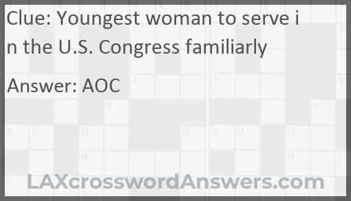 Youngest woman to serve in the U.S. Congress familiarly Answer