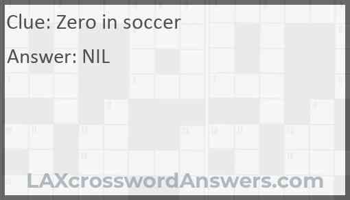 Zero in soccer Answer